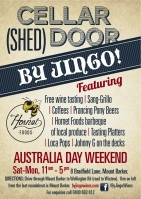 By Jingo Cellar (shed) Door, Australia Day